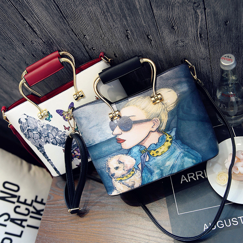 Women Handbag 2017 New Lady Graffiti Printing Totes Fashion Sweet Messenger Bags High Quality PU Leather Cartoon Shoulder Bag 2016 new fashion women bags sweet lady korean version of the handbag candy colored shoulder bag lady