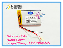 best battery brand 903450 3.7V 1700MAH lithium polymer battery MP3 MP4 Bluetooth 90*34*50mm lithium battery small stereo bluetoo