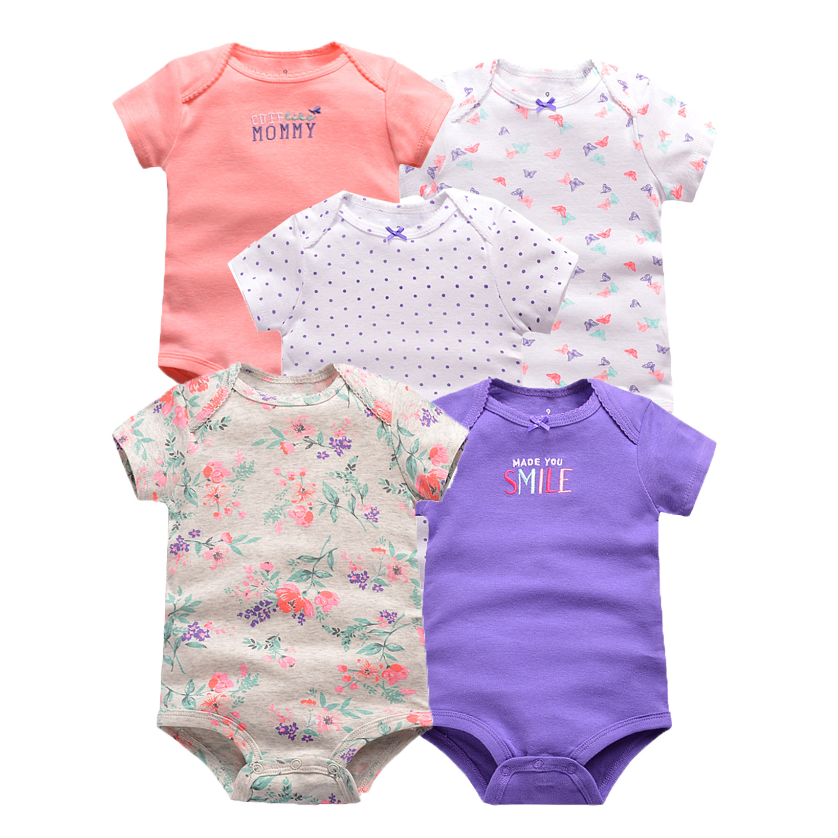 5pcs/4pcs/pack Baby Girl Clothes Short Sleeve Baby Bodysuits Cotton Children Pink Bodysuit Baby Girl Clothes For Body Pajamas