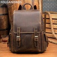 2018 Винтаж рюкзак из натуральной кожи Для мужчин Для женщин дизайнерский бренд рюкзак классический туристический рюкзак воловьей кожи сумк