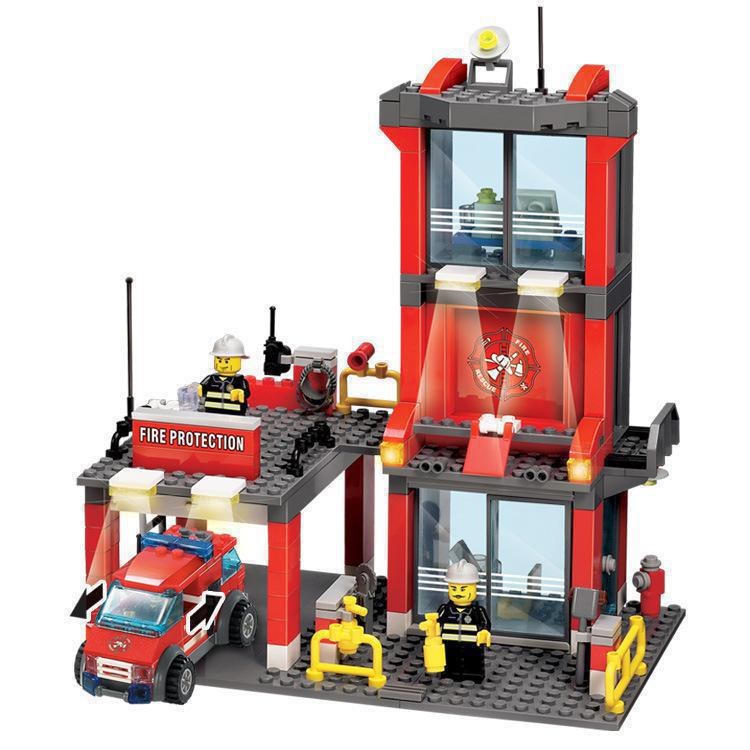 BOHS Fire Station Truck Helicopter Firefighters Figures Engine Children Educational Building Block Toy машина fire truck пожарная