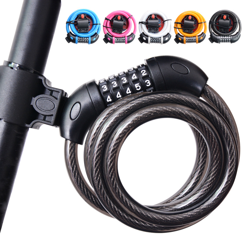 Tonyon 5 Digital Code Bike Bicycle Cycling <font><b>Lock</b></font> Bicycle Security Steel Cable Spiral Bicycle Accessories 1200mmx12mm