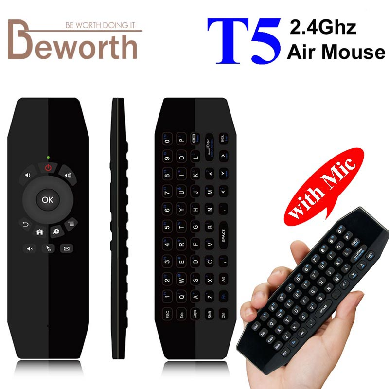 T5 Wireless Mini Keyboard Fly Air Mouse with Mic Smart Remote Control for Android TV Box A95X X96 HTPC IPTV Mini PC Xbox Gamepad 2 4g mini wireless keyboard mouse with touchpad for pc android tv htpc