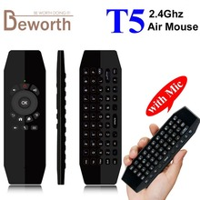 T5 Wireless Mini Keyboard Fly Air Mouse with Mic Smart Remote Control for Android TV Box