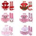 2016 Lovely Christmas Short sleeve Baby girl clothes Newborn Infant clothing Bebes Romper Tutu dress 4pcs/sets Baby clothing