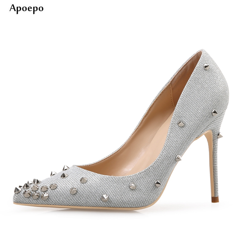 New Newest Rivets studded High Heel Shoes Sexy pointed toe glitter embellished woman pumps Slip-on wedding shoe for the bride sequined high heel stilettos wedding bridal pumps shoes womens pointed toe 12cm high heel slip on sequins wedding shoes pumps