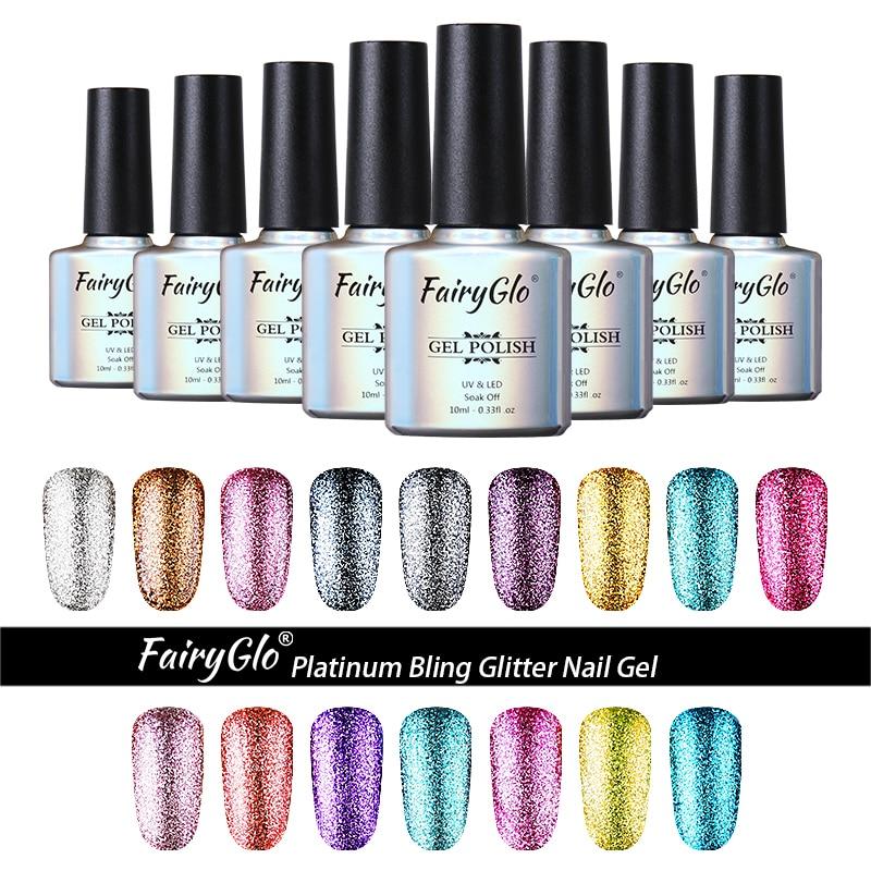 FairyGlo 10ML Bling Giltter Nail Gel UV LED Lamp Paint Gellak Hybrid Gel Varnish Lucky Lacquer