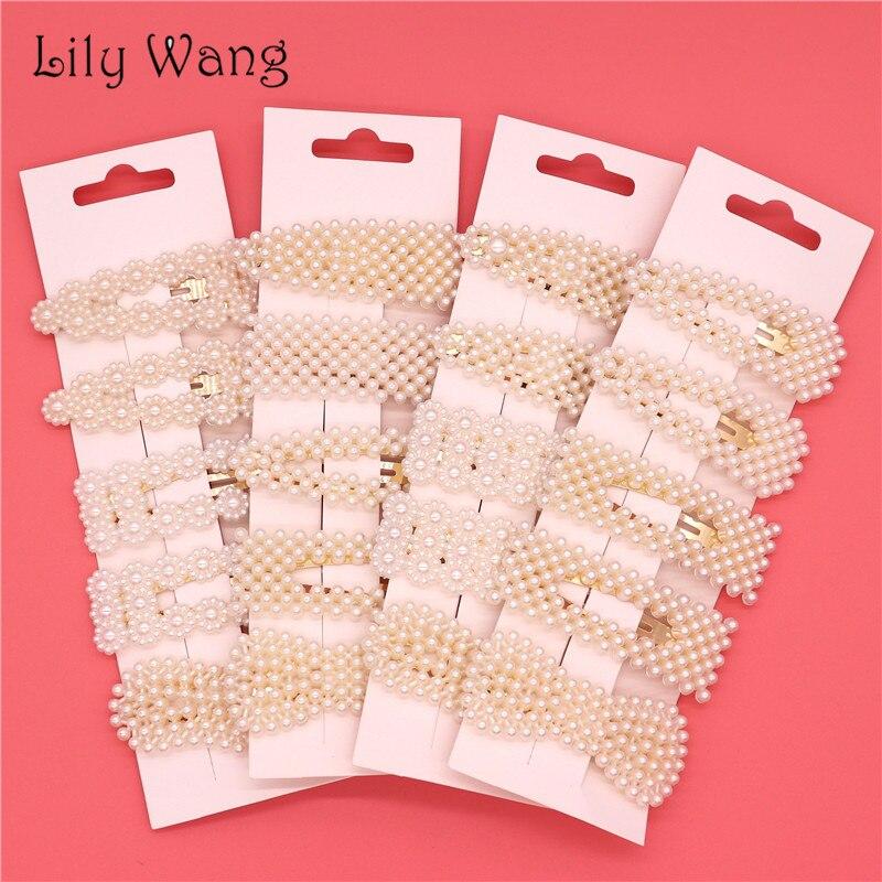 5PCS/Set Korean Fashion Pearl Hair Clips For Women   Headwear   Elegant Hairpins Alloy BB Hairgrip Barrettes Girls Hair Accessories