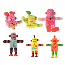 1 Pc Montessori Wooden Transformation Robot Building Blocks Kids Toys for Children Educational Learning Intelligence Gifts(China)