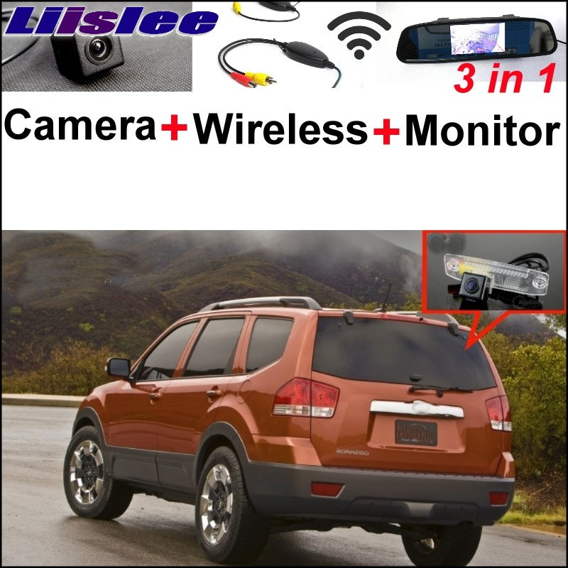 Liislee 3 in1 Special Rear View Camera + Wireless Receiver + Mirror Monitor DIY Parking System For KIA Borrego Mohave 2008~2017 3 in1 special rear view camera wireless receiver mirror monitor easy diy backup parking system for jeep liberty 2002 2007
