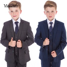 Boys Suits Boys Check Suits, Navy Grey, 5 Piece Wedding Prom Page Boy Baby Party skype 120 page 5
