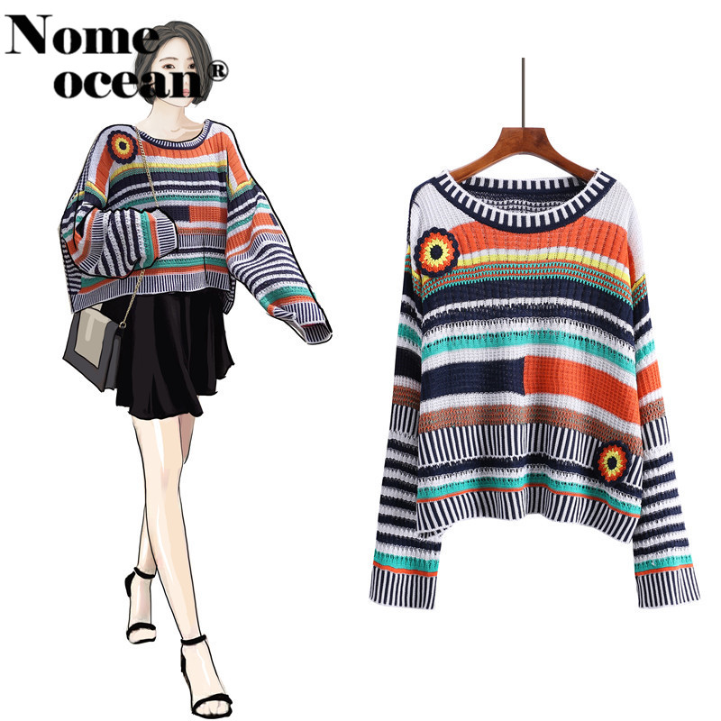 Embroidery Sweater Pullovers Flower Knitted Autumn Hollow-Out of Striped Top-M18090904