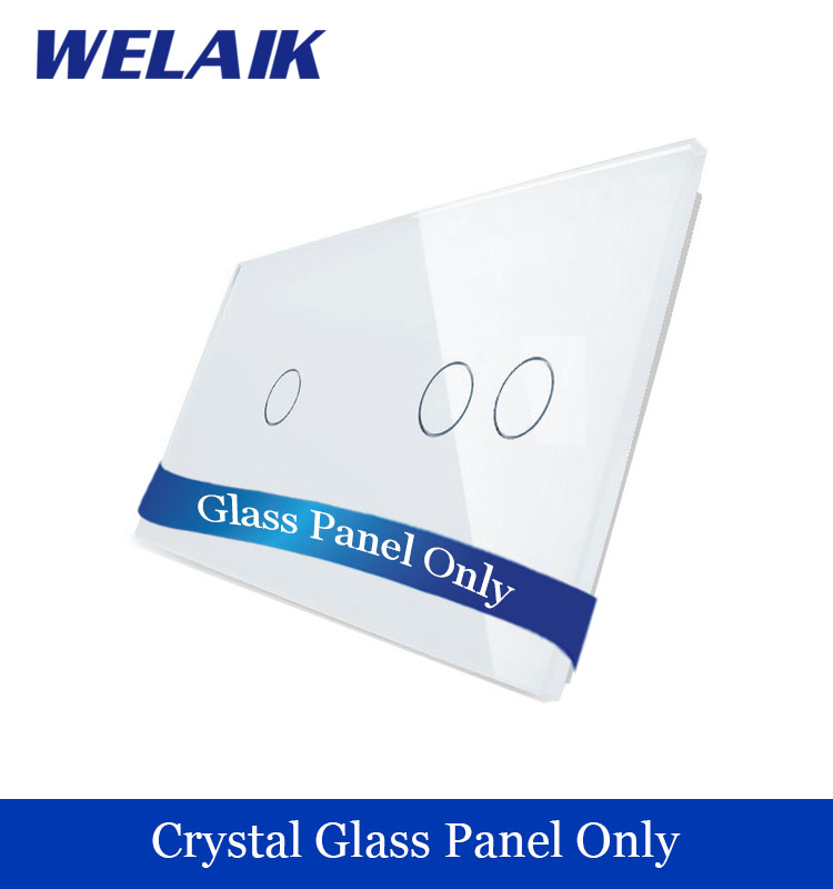 WELAIK  Touch Switch DIY Parts  Glass Panel Only of Wall Light Switch Black White Crystal Glass Panel 1Gang+2Gang  A2911W/B1 welaik crystal glass panel switch white wall switch eu remote control touch switch light switch 1gang2way ac110 250v a1914xw b