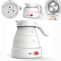 J66 Travel kettle folding water kettle portable Food grade silicone electric kettle 100 240V mini kettle Stainless steel base