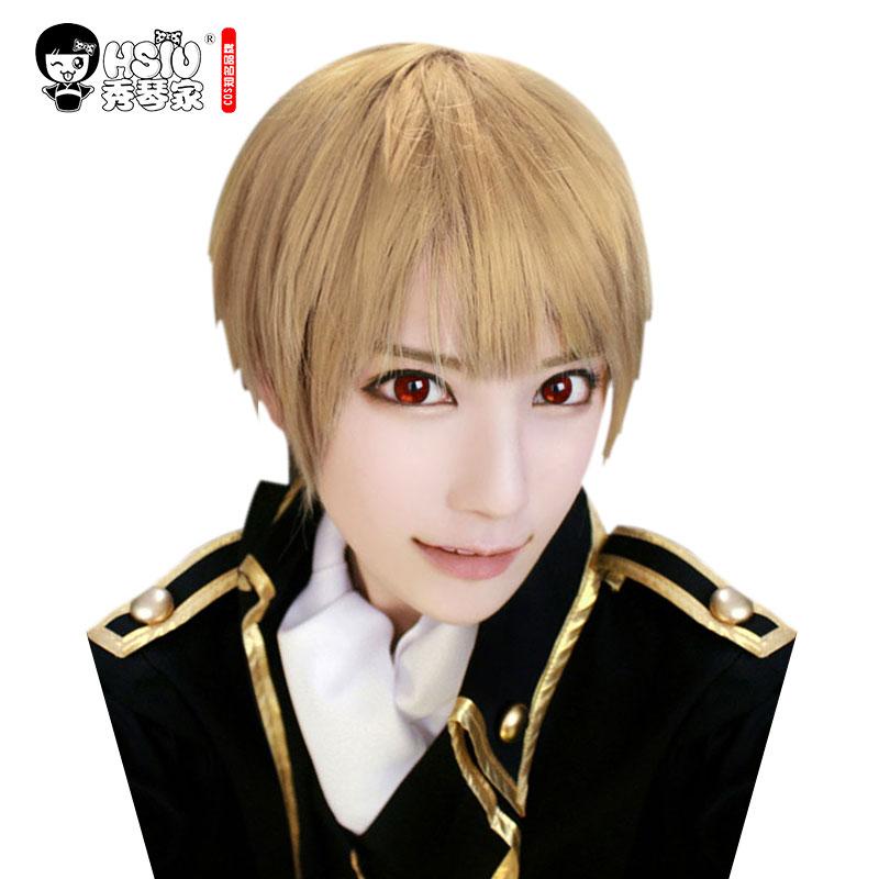 HSIU NEW High Quality Sougo Okita Cosplay Wig Gin Tama Costume Play Wigs Halloween Costumes Hair