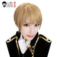 HSIU Peluca de Cosplay Sougo Okita de alta calidad, disfraz de Gin Tama, pelucas de juego, Disfraces de Halloween, pelo