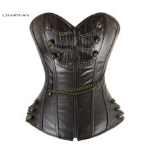 Charmian Women's Leather Steampunk Corset Black Steel Boned Rockabilly Zipper Overbust Corset Bustier Brown Corpete with Chains