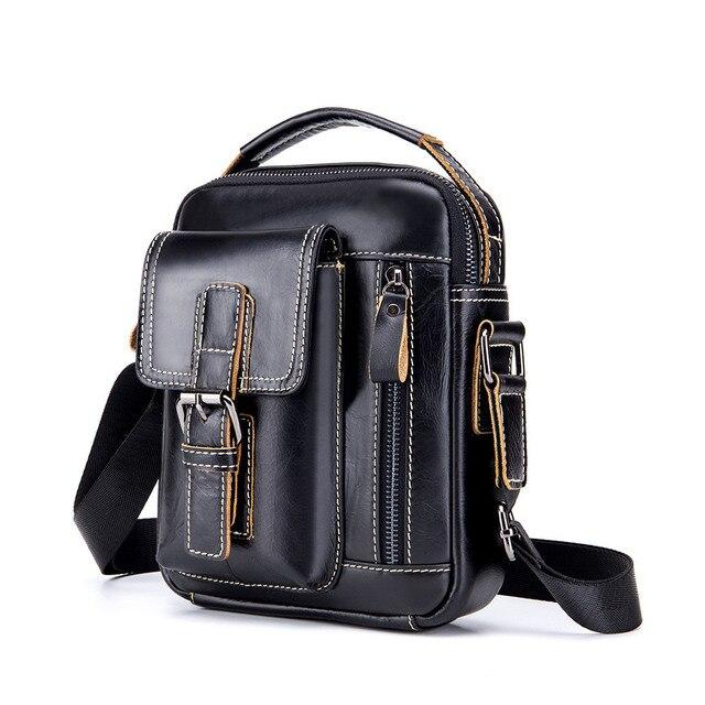 Genuine Leather Men Bags top-handle Male Shoulder Crossbody Messenger Bags Small Flap Casual Handbags Men Leather Bag bolsa Gift