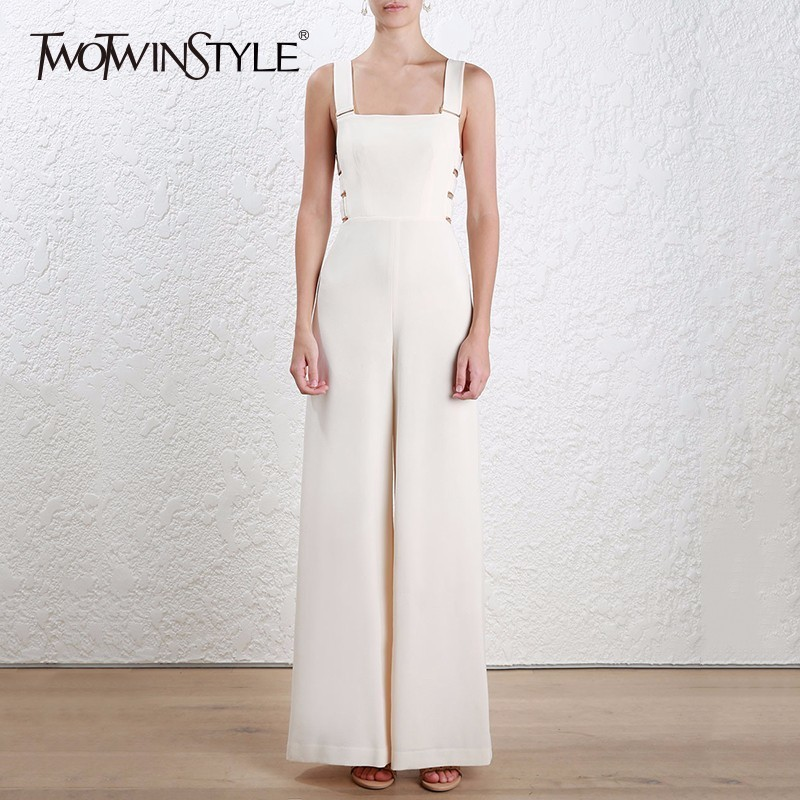 TWOTWINSTYLE Suspenders Jumpsuits Female Hollow Out Backless High Waist Long Wide Leg Pant For Women 2018 Spring Fashion New OL falbala pleated backless high waist wide legs jumpsuits