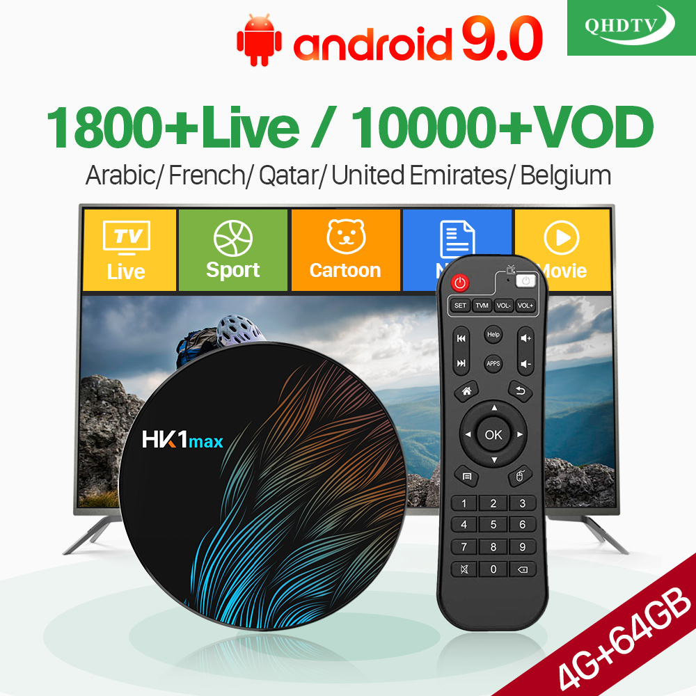 French IPTV France Arabic QHDTV 1 Year Code HK1 MAX Android 9.0 4G+64G BT Dual-Band WIFI