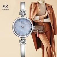 Shengke Ladies Watches Small Round Dial Quartz Watch Top Brand Luxury Women Bracelet Watches Silver Relogio