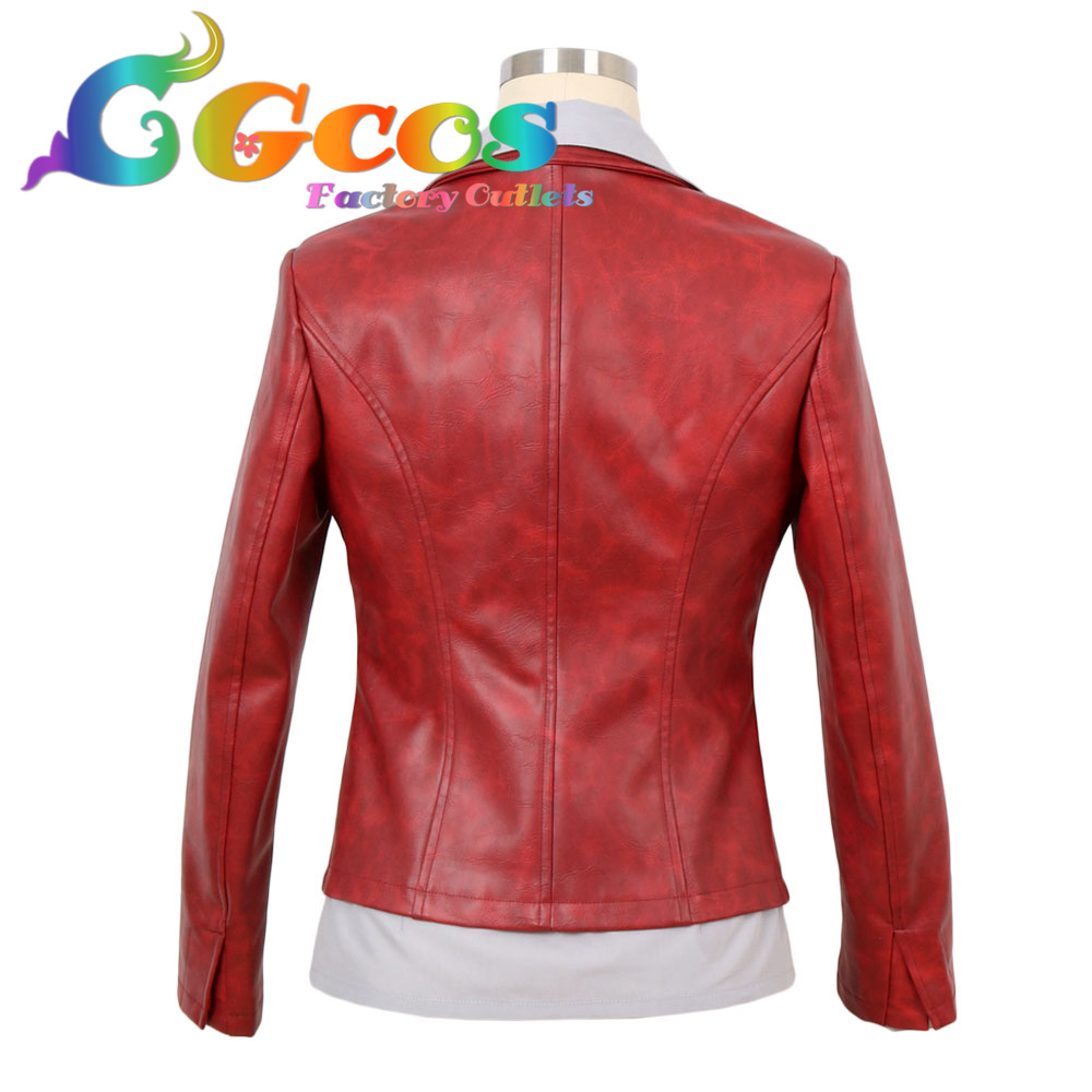 CGCOS Free Shipping Cosplay Costume Resident Evil 6: The Final Chapter Claire Redfield Coat Shirt Pleather PU Movie Halloween