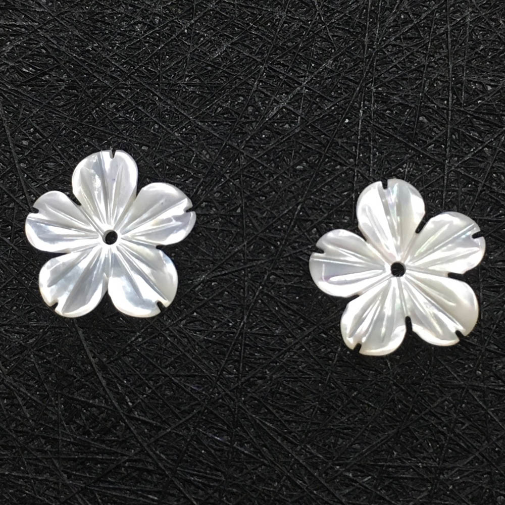 12mm Carved White Shell Flower Charms Center Drilled Cut 5 Petals
