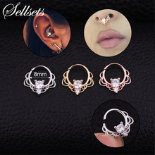 Sellsets 1PC Silver And Gold Color Tribal Septum Jewelry Indian Septum Ring Nose Piercing Daith Earring 2018 New Arrival