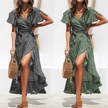 women chiffon print long dress Sexy V-neck irregular flower plus size green black 2019 summer new beach dresses party dress XXL 1