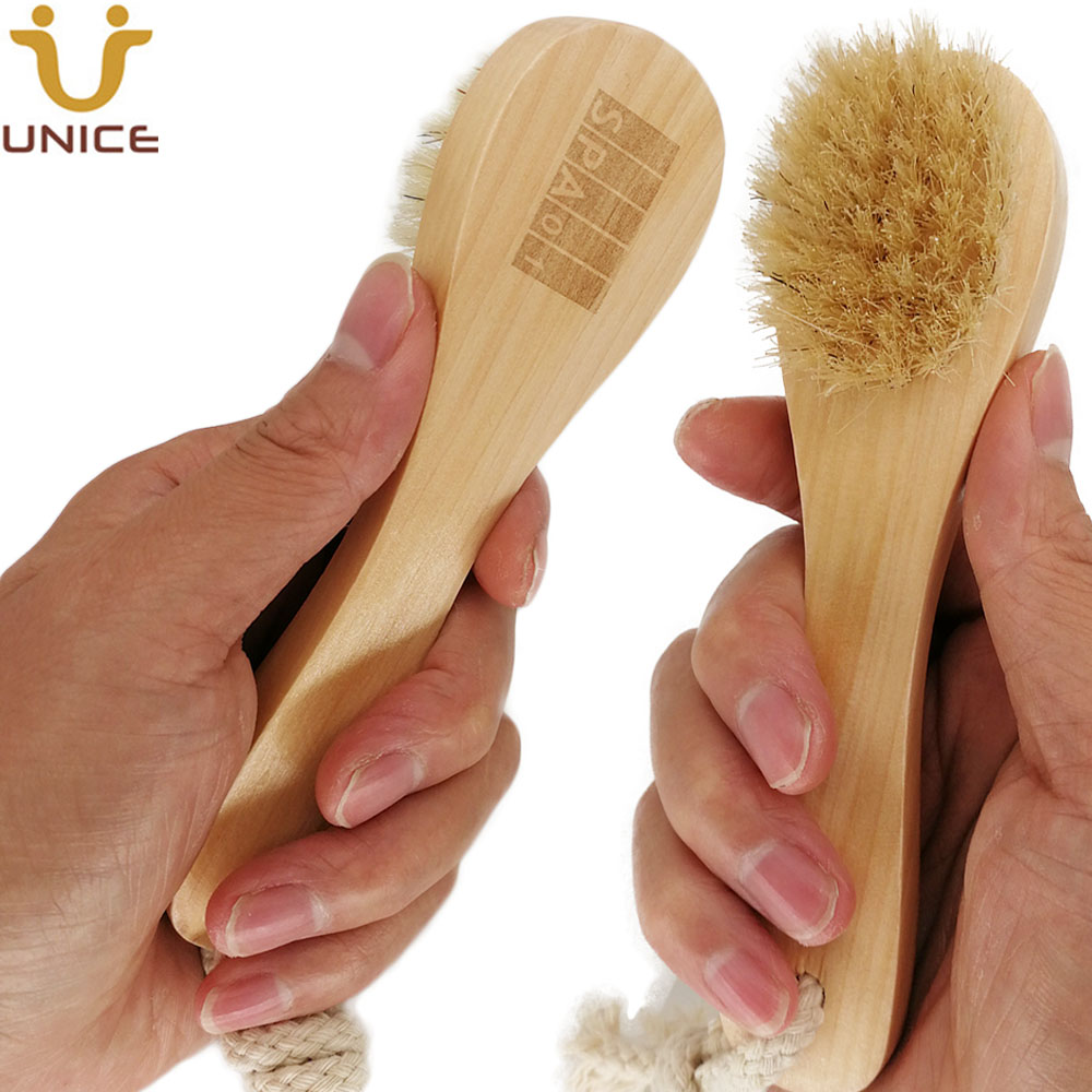 100pcs lot OEM Boar Bristle Facial Brushes Shaving Brush Customized LOGO Wooden Handle Facial Cleaning Brush Promotion Gift in Scrubs Bodys Treatments from Beauty Health
