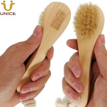 100pcs/lot OEM Boar Bristle Facial Brushes Shaving Brush Customized LOGO Wooden Handle Facial Cleaning Brush Promotion Gift