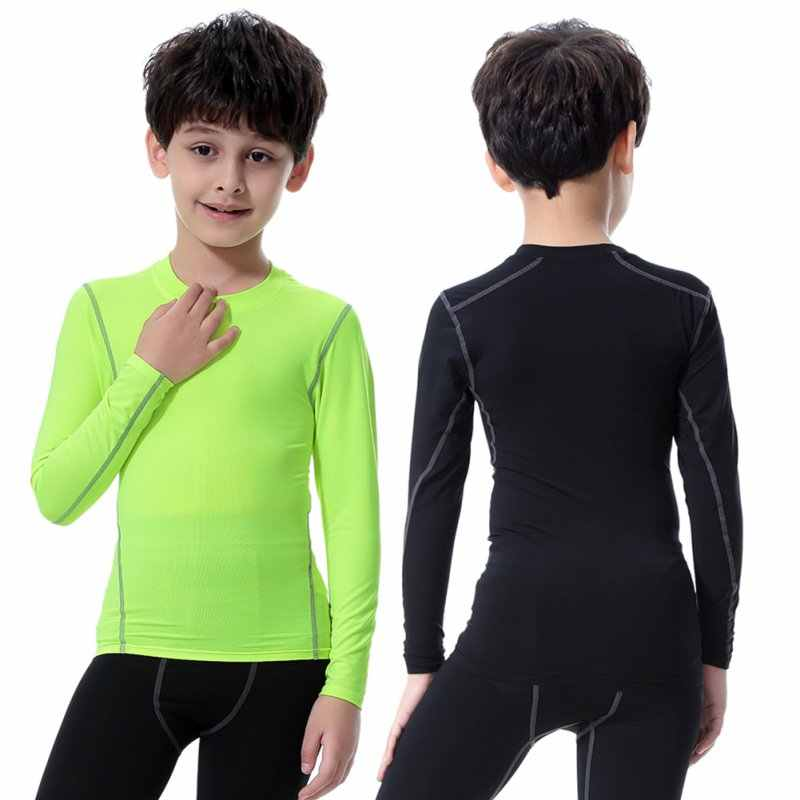 2018 Kids Jongens Compressie T-shirt Lange Mouw Tops Stretch Sneldrogende Shirts Gym Fitness Running Wandelen Camping Tees