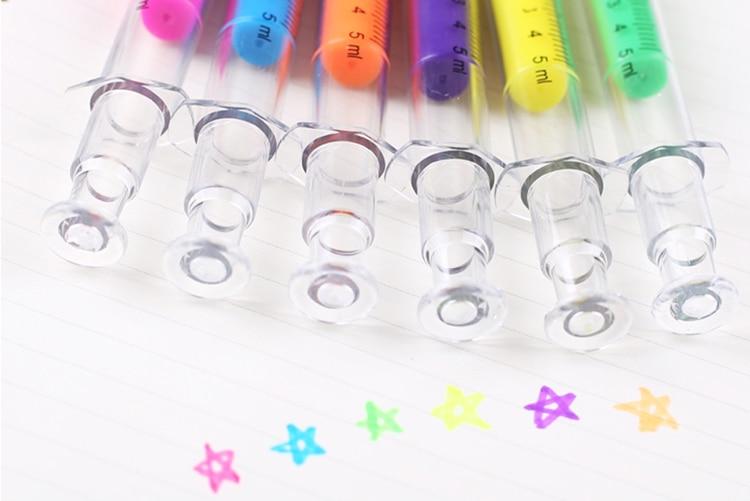Cute Novelty Nurse Needle Syringe Shaped Highlighter Marker Marker Pen Stationery School Supplies Random Color Children Gifts