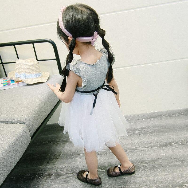 Noworodków dziecko dziewczynka sukienka vestido infantil bebe Szary - Odzież dla niemowląt - Zdjęcie 5