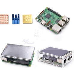 4 в 1 комплект Raspberry Pi 3 Модель B доска с 3,5 ''TFT Малина сенсорный ЖК-экран + акрил чехол + радиаторы