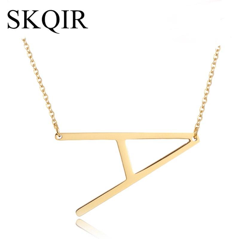Skqir personalizado carta pingente colar ouro prata corrente de aço inoxidável nome personalizado colares inicial charme jóias quente