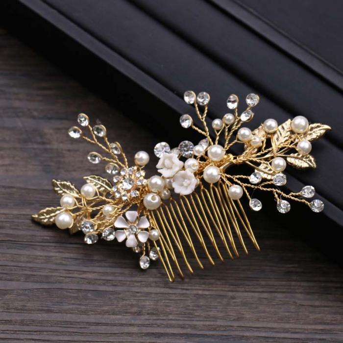 Gold Leaf Flower Pearl Rhinestone Hair Comb Wedding Hair Jewelry 4