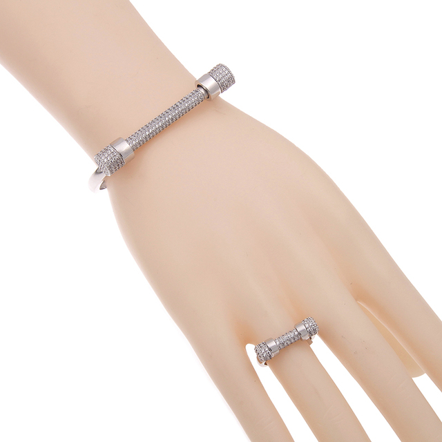 Luxury Famous Brand 2017 Metal Punk Bracelet Zircon Nail Cuff Charm Bracelets Bangles For