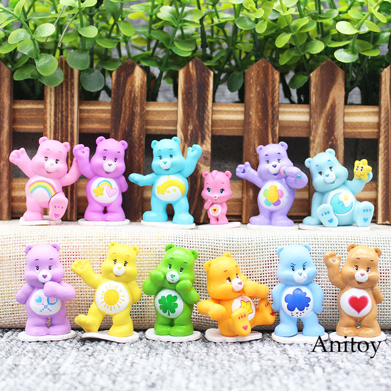 12pcs/set Anime Kawaii Care Bears Best Kids Toys For Boys And Girls PVC Action Figure Collectible Model Toy 4cm KT3584 patrulla canina with shield brinquedos 6pcs set 6cm patrulha canina patrol puppy dog pvc action figures juguetes kids hot toys