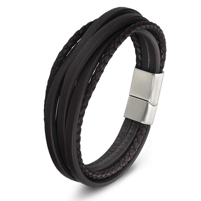 XQNI Multi-capa de acero inoxidable hebilla negro/marrón pulsera de cuero genuino para las mujeres de los hombres de diseño clásico para sorpresa regalo