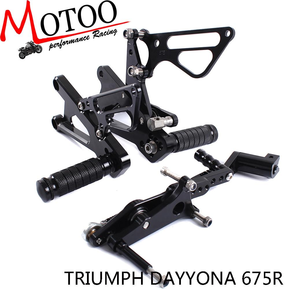 ФОТО Motoo -Full CNC aluminum Motorcycle Rearsets Rear Set For TRIUMPH DAYTONA 675R 2006-2012