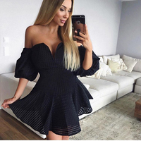2018 Summer Sexy Strapless Off The Shoulder Mini Dresses V Neck Low Puff Sleeve Party Dress Backless White Black Dresses