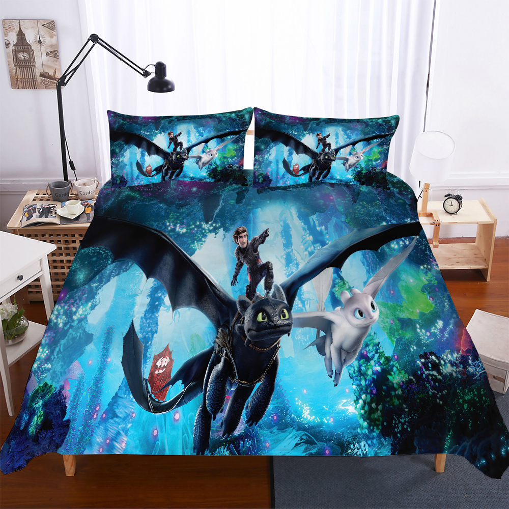 3D Design Digital Printing Bedding Set Duvet Cover Pillowcase Bedclothes Dropshipping Dragon Movie children gife image