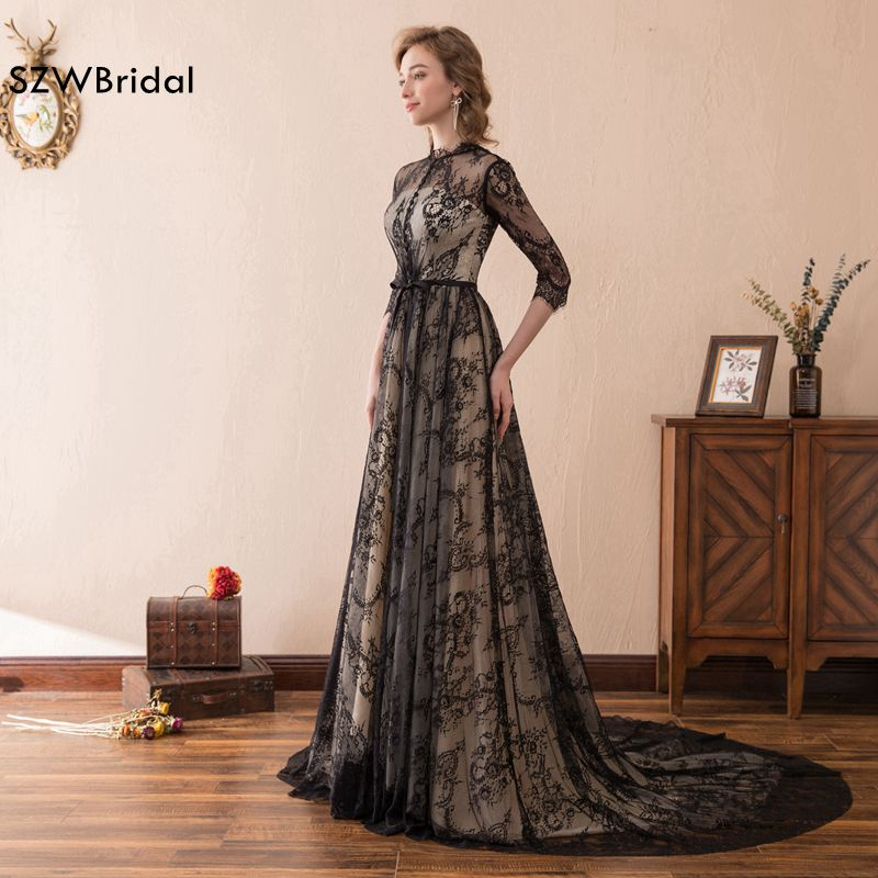 Fashion Black Lace Evening dress 2018 Long sleeve Evening gown ...