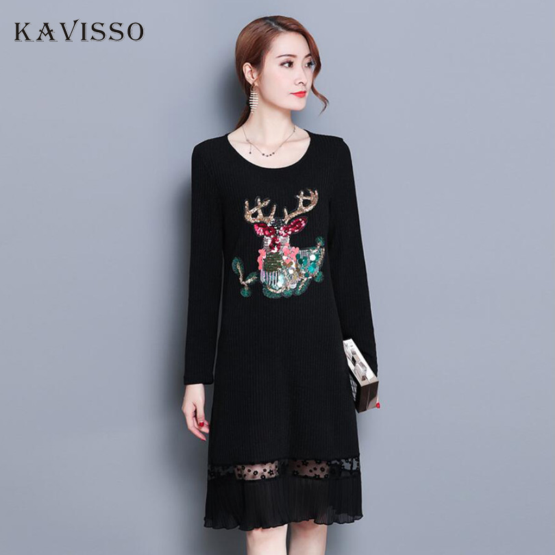 New 2018 Christmas Sexy Party Sequin Dress Women Spring Casual Long Sleeve Black Knited Sweater Dress Plus Size Female Sweater