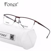 Titanium Optical Glasses Frame Men Ultralight Square Prescription Eyeglasses New Male Semi Rimless Half Myopia Screwless