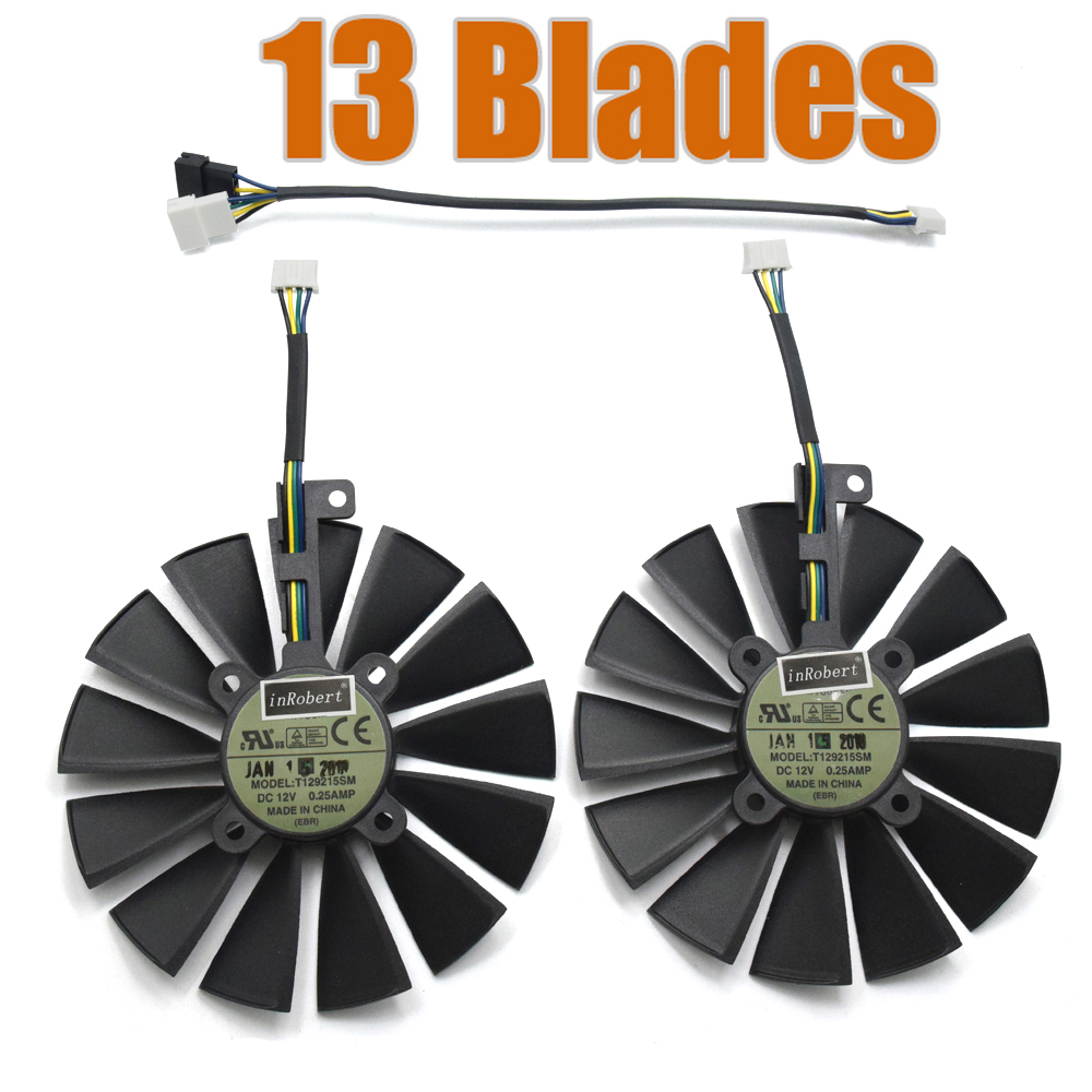 T129215SM 4PIN 13-Blades DC12V 0.25A Cooler Fan FOR DUAL RX580 8G O8G DUAL RX580 4G Graphics Card Cooling Fan computador cooling fan replacement for msi twin frozr ii r7770 hd 7770 n460 n560 gtx graphics video card fans pld08010s12hh