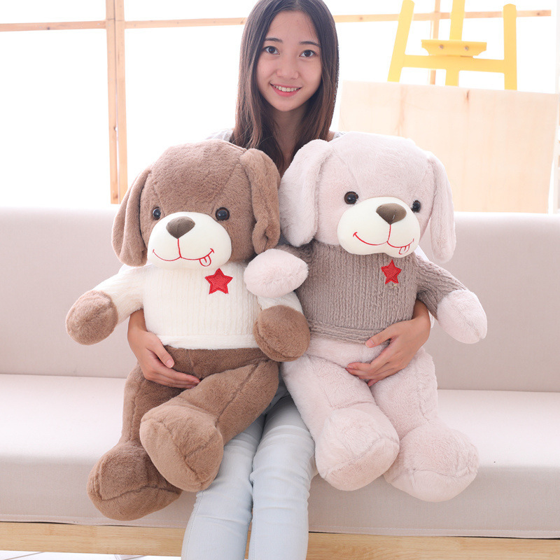 1pc 50cm 70cm Year of the dog lovely tongue Star sweater teddy dog Christmas gift plush doll cushion Soft novelty stuffed toy