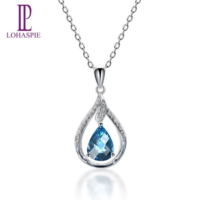 Lohaspie Diamond-Jewelry Solid 14K White Gold Real London Blue Topaz Pendant New Arrival For Women Gemstone Fine Stone Jewelry