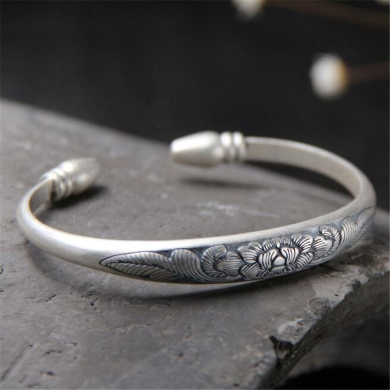 999 Sterling Silver Thai Silver Carved Fortune Peony Flower Woman Cuff Bangle Bracelet Fine Jewelry For Birthday Gift s999 sterling silver carved peony flower bracelet silver pendant bracelet for women
